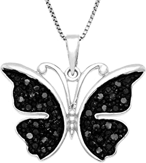 Sterling Silver .25 CTTW black diamond butterfly pendant