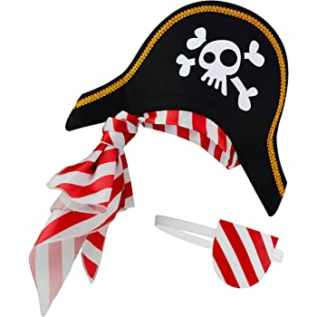 PAPAPANDA Pirate hat Eye Patch for Kids Children and Teenagers Caribbean Captain Costume Black, Red