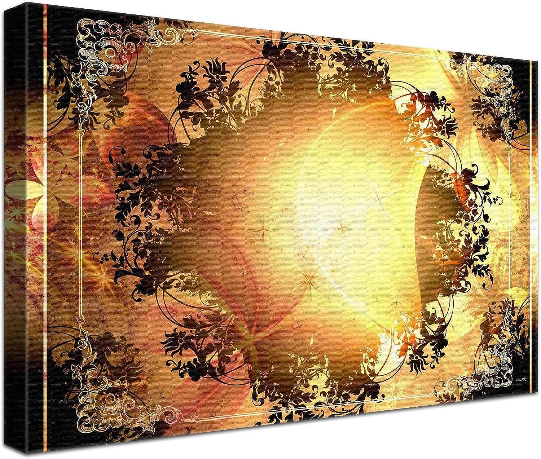 LANA KK Luxus Ausführung – Leinwandbild Barock Sun    Abstraktes Design auf 4 cm Echtholz-Keilrahmen, Braun, 150 x 100 x 4 cm B074QS5B62 | Neu  c6a47f