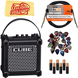 Roland Micro Cube GX Battery-Powered Guitar Amplifier - Black Bundle with Instrument Cable, Batteries, 24 Picks, and Austin Bazaar Polishing Cloth
