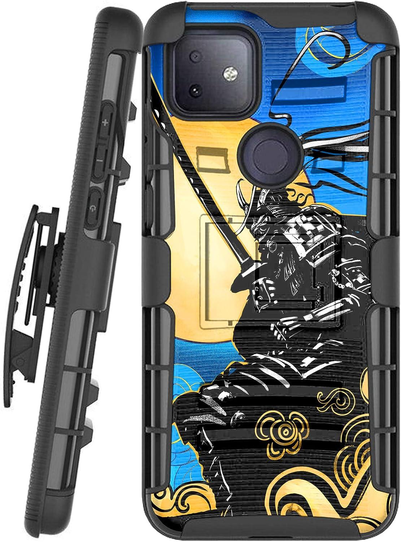 DALUX Hybrid Kickstand Holster Phone Case Compatible with T-Mobile REVVL 4 Plus/REVVL 4+ (2020) - Blue Samurai Cloud