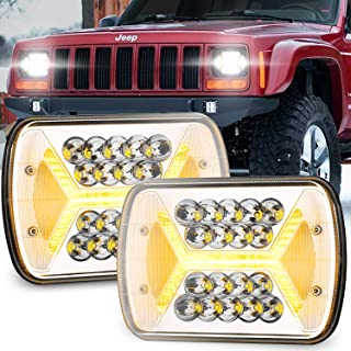 Yorkim Upgrated Newest 5x7 Led Headlights H6054 Headlight 7x6 inch Sealed Beam Square Headlamp with High Low Beam Dot Ligh...