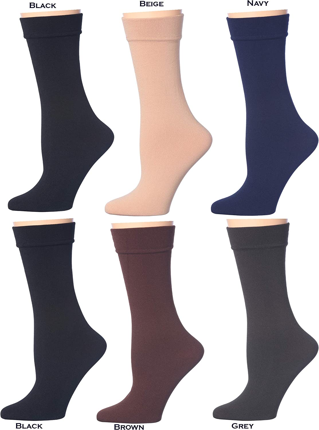 Women's Opaque Plush Fleece Lined Knee High Or Crew Socks (Pack of 4 or 6)