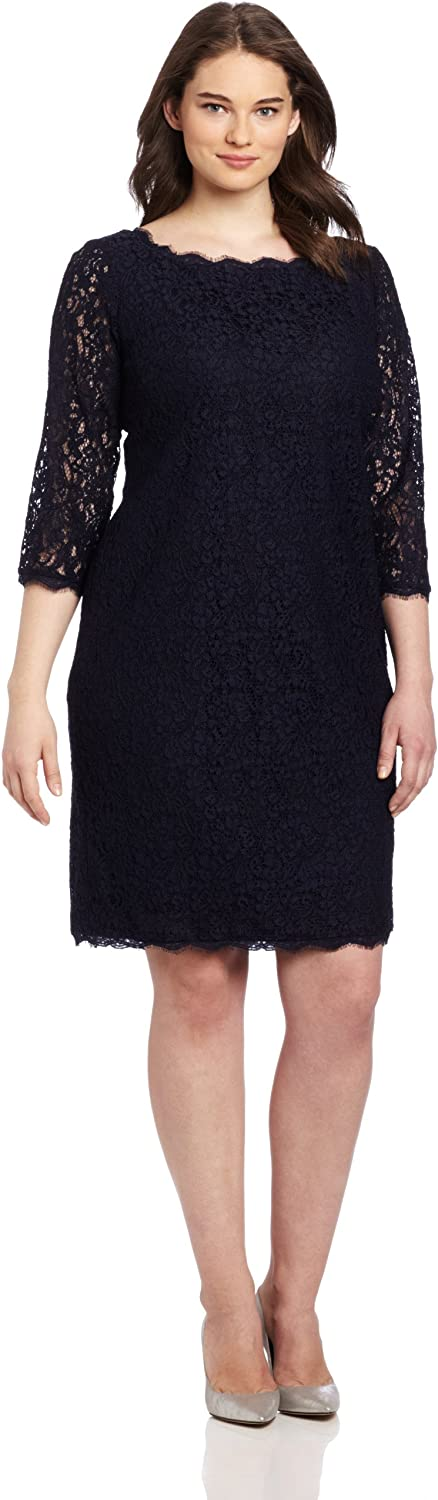 Adrianna Papell Women's PlusSize 3 4 Sleeve Lace Dress