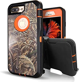 iPhone 8 Plus Case,iPhone 7 Plus Case with Built-in Screen Protector,Vodico Camo Heavy Duty Defender Shockproof High Impact Resistant Full Body Cover with Belt Clip Holster&Kickstand (Wheat Orange)