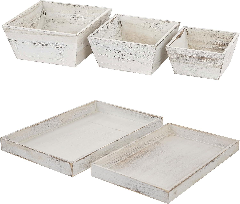 Mendler Holzschalen Set, Set, Set, 3X Obstschale Dekoschale T284, 2X Serviertablett T285, Shabby-Look  weiß B016BQSHBA 9aea51