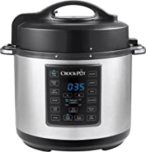 Crock Pot 6 Quart 8 in 1 Multi Use Express Crock Programmable Pressure Cooker, Slow Cooker, Sauté & Steamer | Stainless Steel (SCCPPC600 V1)