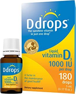 Ddrops 1000IU (5mL), 180-drops Box - Liquid Vitamin D3 Drops Supplements for Adults