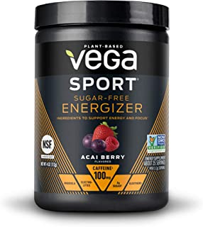 New Vega Sport Sugar Free Energzier Acai Berry (35 Servings, 4.0 oz Tub) - Vegan, Keto-Friendly, Gluten Free, Sugar Free, All Natural, Pre Workout Powder, Non GMO (Packaging may vary)
