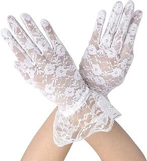 Short Lace Gloves for Women Wrist Length Floral Gloves for Wedding