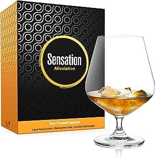 Season STORY Large Cognac Whiskey Snifter Brandy Glasses, (Set of 2, 22oz) Modern & Unique Crystal Stemmed Glassware 4 Tasting and Drinking Whisky, Liquor & Rum
