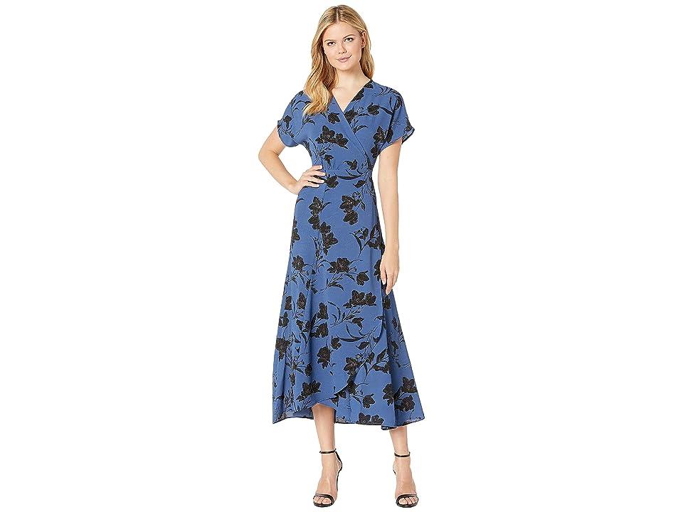 Bobeau Printed Wrap Maxi Dress (Royal Floral) Women