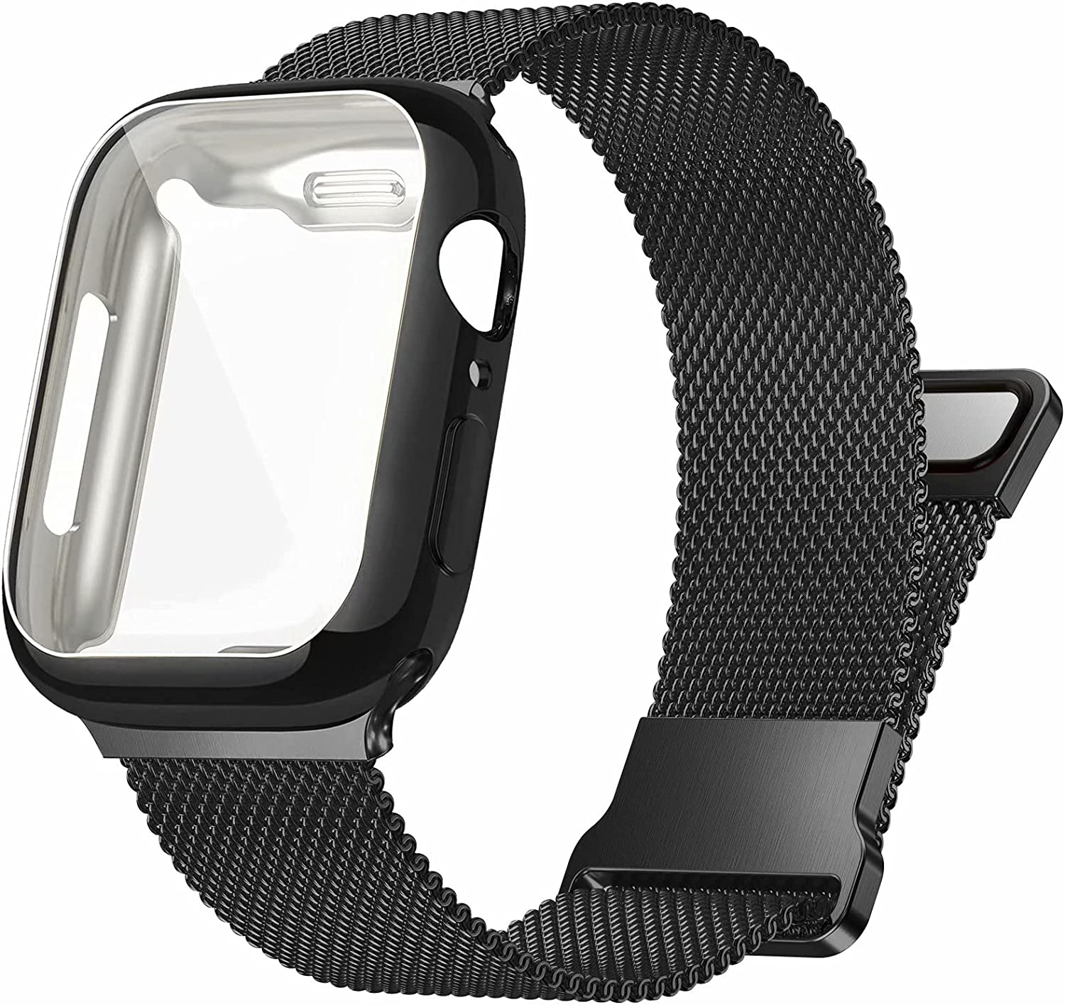 Zsuoop Compatible with Apple Watch Bands 38mm 40mm 42mm 44mm With Screen Protector Case,Magnetic Mesh Stainless Steel Milanese Loop Adjustable Wristband for iWatch Series 6/5/4/3/2/1/SE Women Men