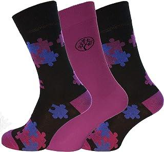 Socks Uwear Mens Bamboo Range Business Design Multipack Socks - Jigsaw Purple - 7-11