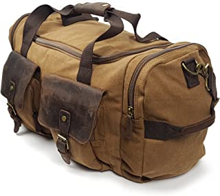 Canvas Travel Duffel Bag - Exterior Side Pockets w Shoulder Strap - 53cm Across