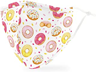 Weddingstar Washable Cloth Face Mask Reusable and Adjustable Protective Fabric Face Cover w/Dust Filter Pocket - Donuts