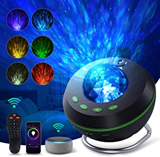 Smart WiFi Star Projector,Ocean Wave Galaxy Projector Works with Alexa & Google Assistant, Night Light Projector with Spea...