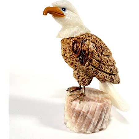 96mm Aragonite Eagle On White Onyx Stand Collectible Crystal Figurine Decorative Hand Carved Statuette Natural Stone Bird Sculpture Peru Home Kitchen