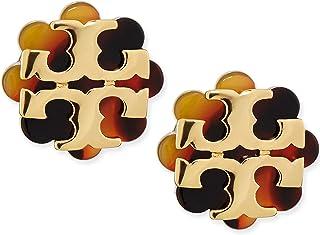 Tory Burch Logo Flower Resin Stud Earring - Tortoise/Gold …