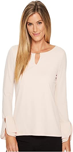Calvin Klein - Triple Flare Sleeve Top w/ Bar