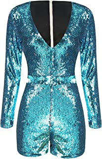 ASMAX HaoDuoYi Womens Mardi Gras's Sparkly Sequin V Neck Party Clubwear Romper Jumpsuit