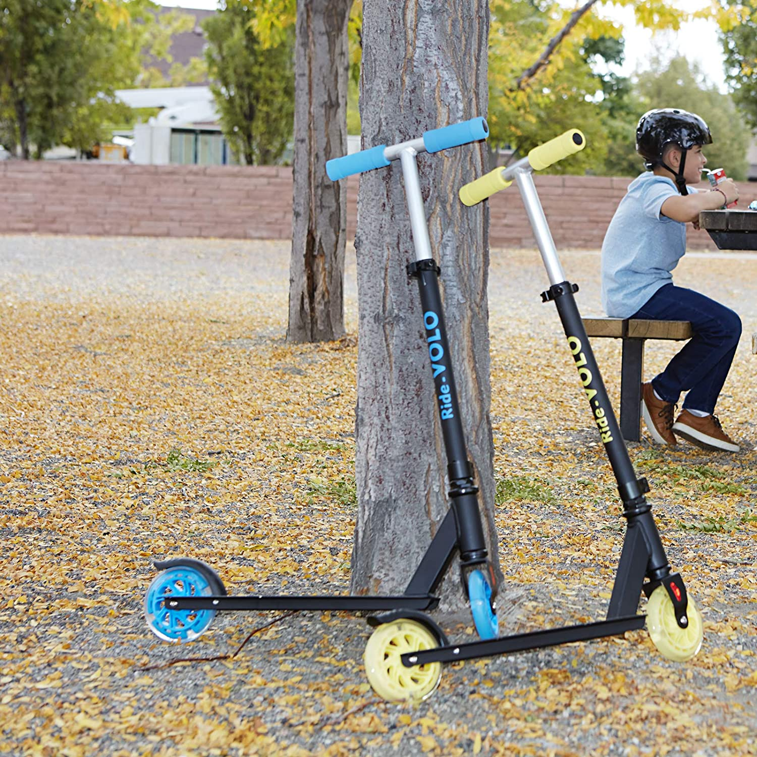 Only 5.19lb RideVOLO K05 Kick Scooter Suitable for 4-9 Years Old Lightweight Aluminum Alloy Frame 5 PU Flash Wheels 3 Adjustable Heights ABEC-5 Wheel Bearings Max Load 110lbs