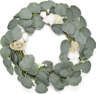 Jolitac 16 inch Artificial Wreath Green Leaf with Rattan Base Weaving, Handmade Eucalyptus, Cotton Flowers, Hydrangea, Grapevine Wreathes for Home Wall Door Decor (Cotton-16inch)
