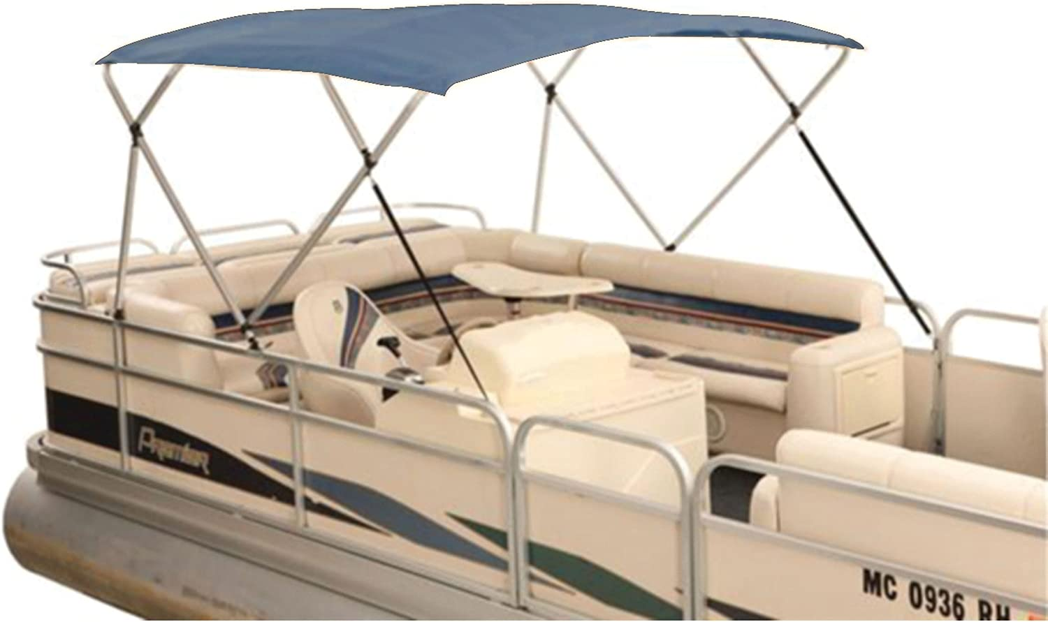 Attwood 381PGY Navy 8' x 10' Traditional Fabric Bimini Top