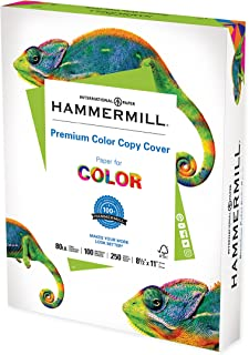 Hammermill Cardstock, Premium Color Copy, 80 lb, 8.5 x 11 - 1 Pack (250 Sheets) - 100 Bright, Made in the USA Card Stock
