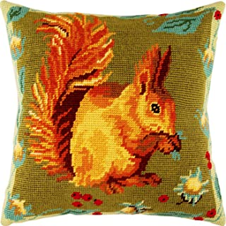 Squirrel. Needlepoint Kit. Throw Pillow 16�16 Inches. Printed Tapestry Canvas, European Quality