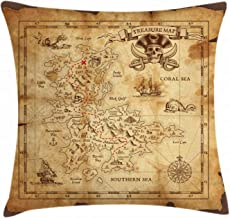 Ambesonne Island Map Throw Pillow Cushion Cover, Super Detailed Treasure Map Grungy Rustic Pirates Gold Secret Sea History Theme, Decorative Square Accent Pillow Case, 16 X 16, Beige Brown