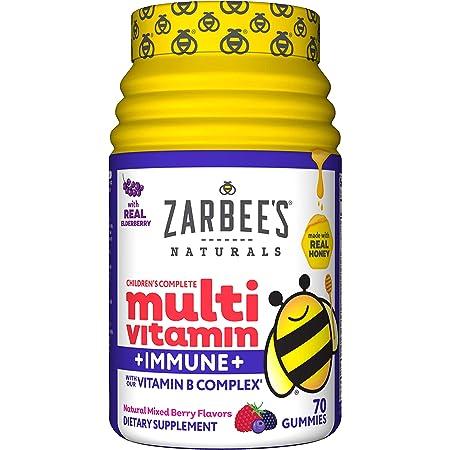 Zarbee's Naturals Children's Complete Multivitamin + Immune* Gummies, Mixed Berry Flavors, 70 Gummies