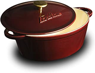 Landhaus Enameled Cast Iron Covered French Oven, Pot with Lid and Two Knobs Included – 4.7 Quart (QT), Natural Non-Stick Slow Cook Enamel Self-Basting Cookware, Merlot Red Exterior with Cream Interior
