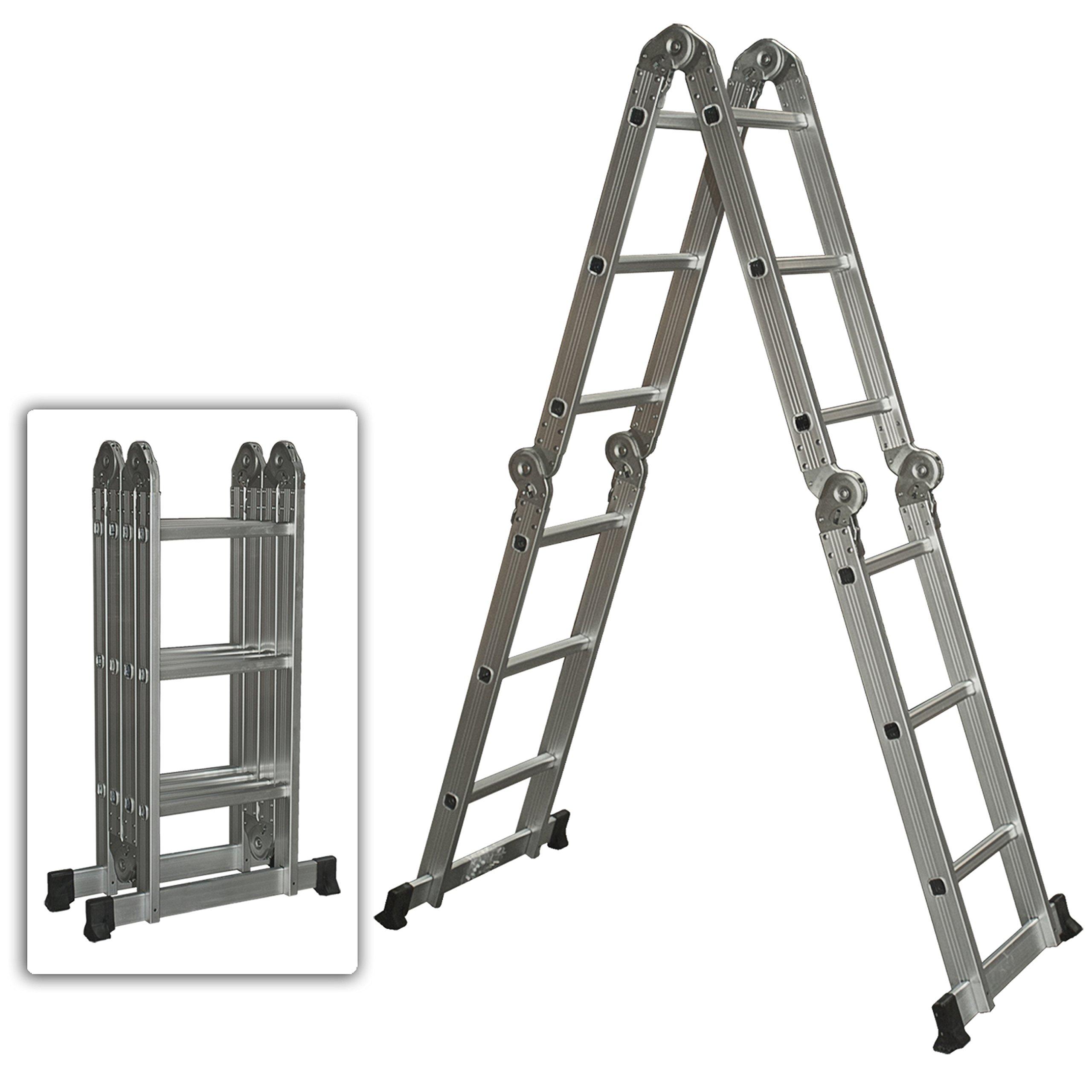 Extensión escaleras 11 pies plegable de aluminio Paso sistema portátil poco gigante escalera telescópica multiusos: Amazon.es: Hogar