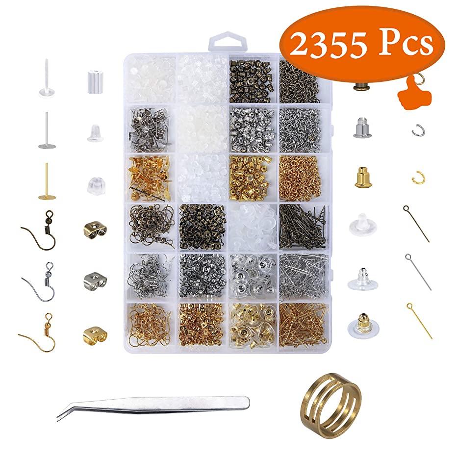 YUGDRUZYJewelry Supplies,Earring Backs,2355Pcs Earring Supplies with 24 Kinds of Earring Findings,Earring Making Findings,Earring Making Supplies Kit,Jewelry Findings for Adults