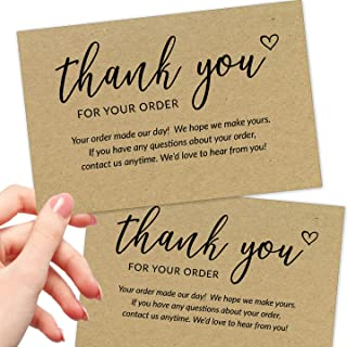 50 Large 4x6 Thank You For Your Order Cards - Bulk Kraft Postcards Purchase Inserts to Support Small Business Customer Sho...