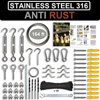 AZEXCEL String Light Hanging Kit. Stainless Steel 316 Hardware for the Suspension of Outdoor String Lights, Lanterns, Globe, Cafe Lighting Etc. Guide Wire Rope with Turnbuckles and Hooks. 164ft Cable