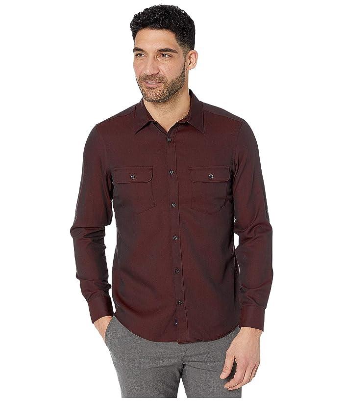 Perry Ellis  Slim Solid Twill Untucked Shirt (Red Dahlia) Mens Clothing