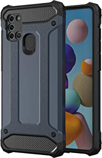 جراب NIUNU مع أربعة مصدات لهاتف Samsung Galaxy A21S ، 16 أقدام مختبر ضد الصدمات ، جراب واقي شديد التحمل - أزرق
