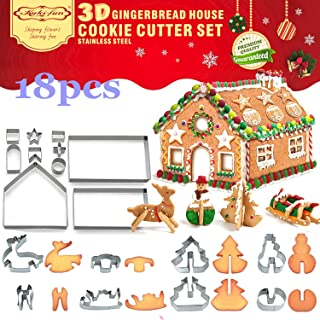 3D Christmas House Cookie Cutter Set, Gingerbread House Cutters Kit, Festive Xmas Stainless Steel Biscuit Cutter Set, Incl...