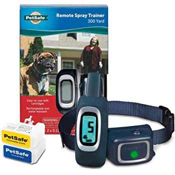 PetSafe Remote Spray Trainer - 3 in 1 Dog Training Solution: Tone, Vibration, Spray - Citronella & Unscented Refill Cartridges, Rechargeable & Water-Resistant Collar, Reduce Bark and Correct Behavior