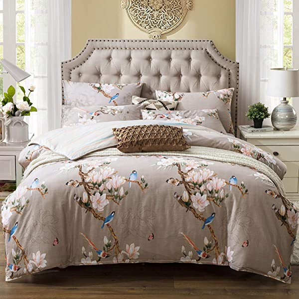 Kosa Bedding 3 Pieces Duvet Cover Set Botanical Flowers And Birds Pattern Printed Premium Cotton Comforter Cover With Zipper Closure Reversible Pattern Bedding Set King Size