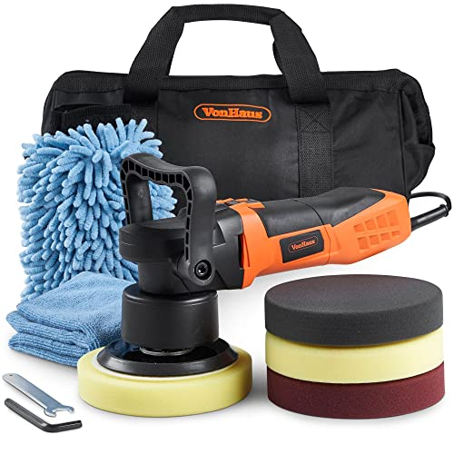 VonHaus Dual Action Polisher Kit - Random Orbit Polishing Machine 600W - Variable Speed, for Buffing Metal, Plastic, Tiles, Car Paint and More - Includes 4 Buffing Pads and Carry Case