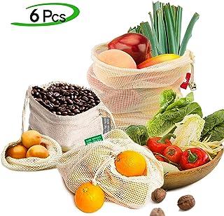 Ezlife Bolsas Reutilizables Compra, Bolsas Reutilizables Fruta de Algodon Ecológicas Lavable y Transpirable Bolsa de Malla para Fruta Verduras Juguetes -6 Pcs (1*Bolsas de Tela,1*S, 2*M, 2*L)