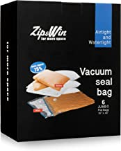 Zip&Win Vacuum Storage Bags - 35 x48 inches Extra Thick Jumbo Space Saver Bags (More Durable and Bigger) for Seasonal Clothes, Duvets, Pillows, Blankets Storage (6 pcs Extra Large Bags)+ Travel Bag