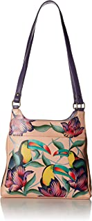 Anna by Anuschka Genuine Leather Triple Compartment Satchel | Hand Painted Original Artwork