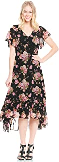 Women's Romantic Floral V-Neck Dress for All Occasion. Flutter Sleeve or 3/4 Sleeves.