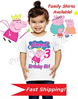 Peppa Birthday Shirt, Family Shirts, Peppa Birthday Shirt, Peppa Party Favor, Add Any Name and Age, Peppa, Visit Our Shop