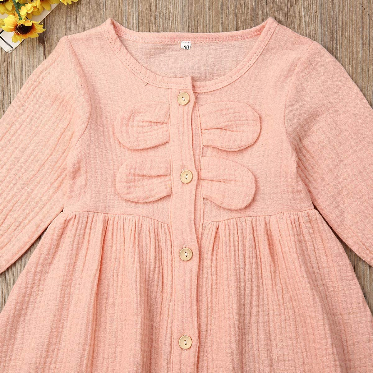 Verve Jelly Toddler Infant Baby Girls Linen Dress Ruffle Long Sleeve Button Bowknot Casual Dresses Princess Party Tutu Dress