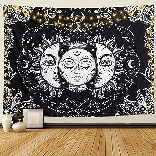 Dremisland Tapiz de Pared Indio Hippie Bohemio Mandala psicodélico Colgar en la Pared Lanzar Luna y Sol Tapices Blanco Negro para Sala de Estar Dormitorio decoración(Luna y Sol, M / 130 X 150 cm)
